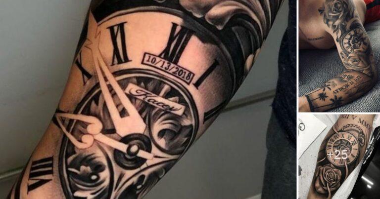 Los 35 Mejores Diseños de Tatuajes de Relojes de Bolsillo