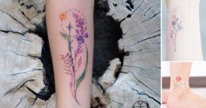 Coloridas Ideas de Tatuajes con Flores para Mujeres