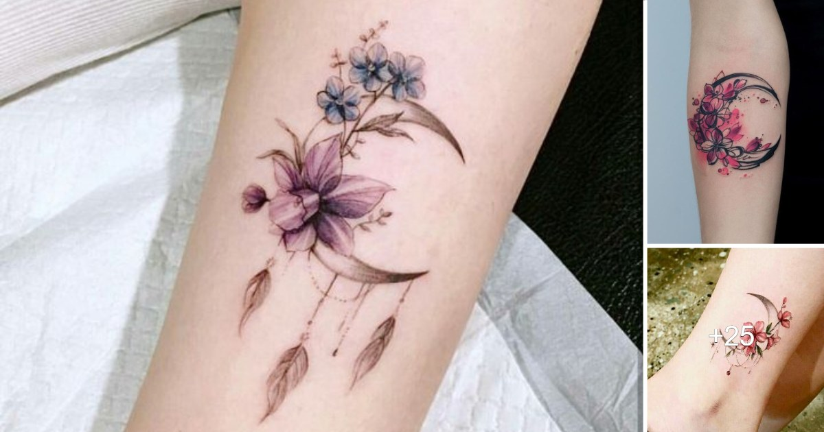 25 Ideas de Diseños de Tatuajes de Lunas y Flores