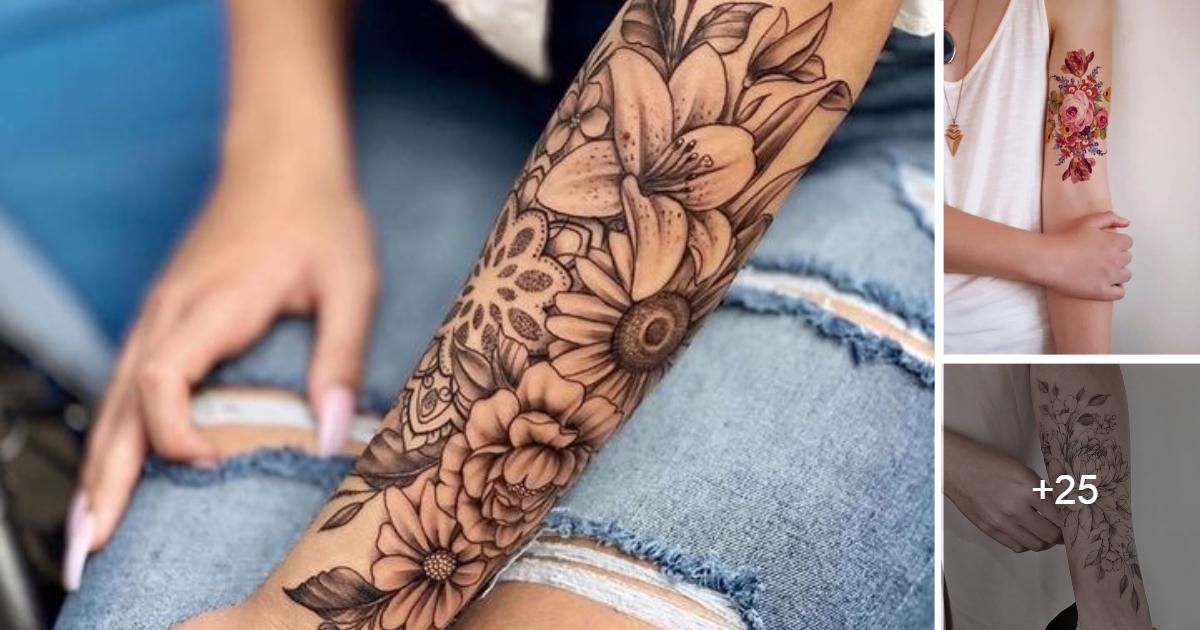 Tatuajes Florales en Brazos para Mujeres