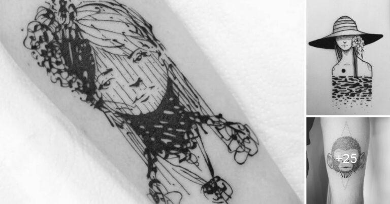 Lee más sobre el artículo Tatuajes de líneas erráticas de GUGA SCHARF, inspirados en dibujos de cuaderno