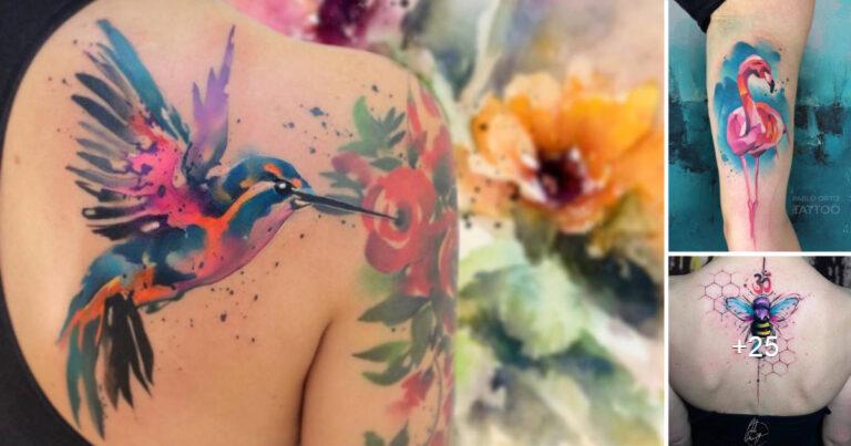 Asombrosos y Coloridos Tatuajes Acuarela por «Pablo Ortiz»