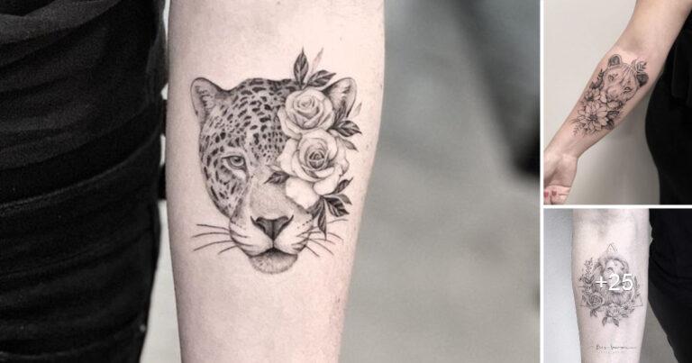 Lee más sobre el artículo Hermosos Tatuajes de Felinos y Flores, una combinación extraordinaria