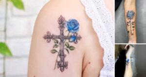 Las 21 mejores ideas de tatuajes de rosas azules